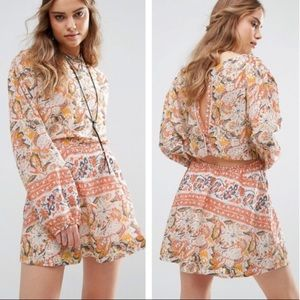 Free People Silver Sun Blouson Minidress